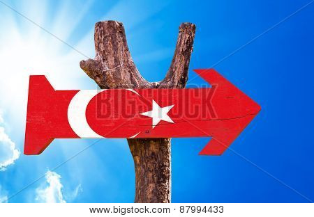 Turkey Flag wooden sign with sky background
