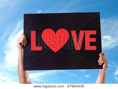 Love card with sky background