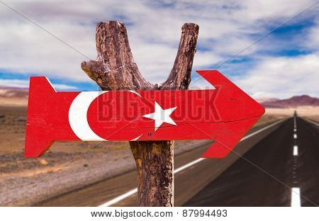 Turkey Flag wooden sign with road background
