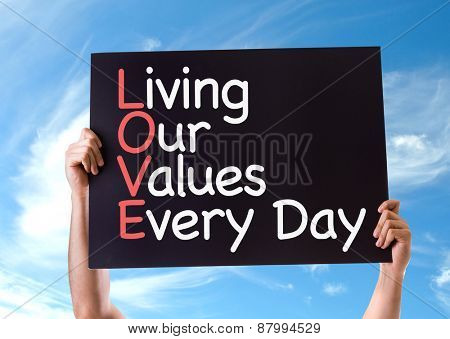Living Our Values Every Day card with sky background