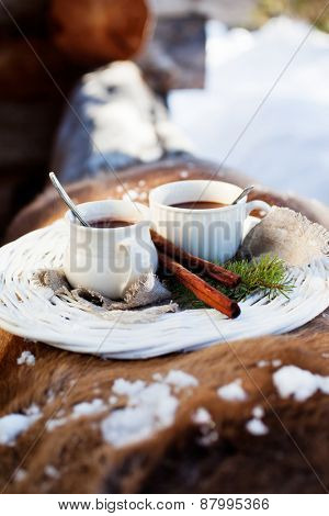 Hot chocolate for two outdoors