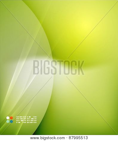 Green color shining, waves and lines. Abstract background