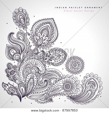Beautiful Indian floral ornament. Wedding Invitation. Greeting c