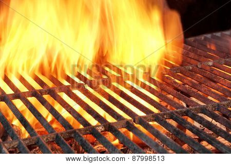 Empty Charcoal Grill With Flames Of Fire