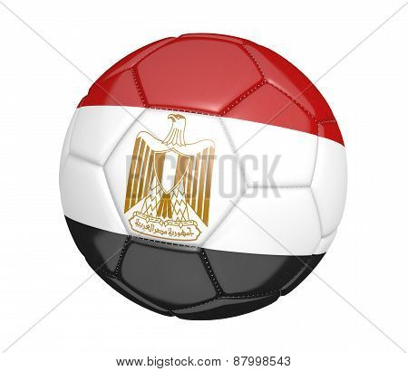 Soccer ball, or football, with the country flag of Egypt