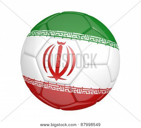 Soccer ball, or football, with the country flag of Iran