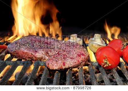 Bloody Strip Steak, Tomatoes And Mushrooms On Hot Grill