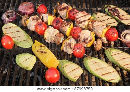 Homemade Shish Kabobs With Meat, Peppers, Tomatoes, Mushroms And Onions