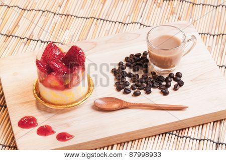 Strawberry Cheese Cake On Wood.