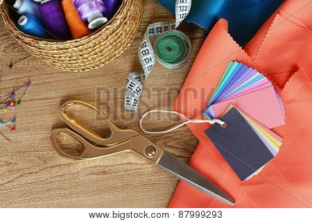 Samples of colorful fabric, closeup