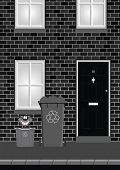 picture of recycle bin  - Monochrome residential house on street with recycling bins out ready for collection - JPG
