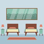 stock photo of flat-bed  - Flat Design Twin Beds Interior Vector Illustration - JPG