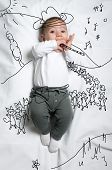 Постер, плакат: Cute baby boy depicting pied piper decoration sketch