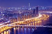 image of seoul south korea  - Seoul Tower and Downtown skyline at night - JPG