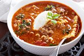 stock photo of ground-beef  - Lasagne soup with ground beef - JPG
