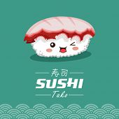 stock photo of sushi  - Vector sushi cartoon character illustration - JPG