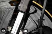 stock photo of suspension  - Color detail of the front suspension of a motorcycle - JPG
