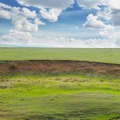 stock photo of landslide  - landslide and soil erosion on agricultural fields - JPG