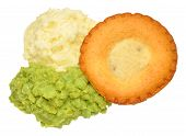 foto of mashed potatoes  - Meat pie and mashed potato meal with mushy peas isolated on a white background - JPG