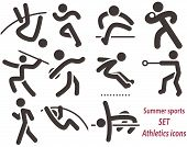 stock photo of pole-vault  - Summer sports icons - set of athletics icons. All icons are optimized for size 32x32 pixels - JPG