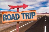 stock photo of road trip  - Road Trip sign with road background - JPG