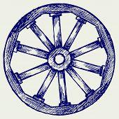 pic of wagon wheel  - Wooden wheel - JPG