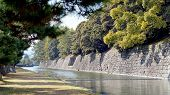 pic of shogun  - canal water and tree landscape around nijo castle in Kyoto Japan - JPG