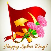 stock photo of hammer sickle  - Postcard for holiday of Spring and Labor - JPG