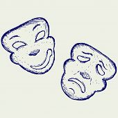 image of comedy  - Comedy and tragedy theater masks - JPG