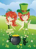 image of leprechaun  - Cartoon leprechaun boy and girl with treasure pot on a grass field - JPG