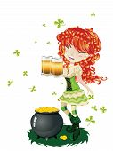 picture of leprechaun  - Pretty leprechaun girl with beer St - JPG
