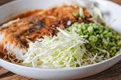pic of thai food  - Thai rice vermicelli served with curry it is local Thai food - JPG