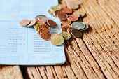 stock photo of passbook  - Thai money bath and Saving Account Passbook image - JPG