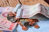 image of passbook  - Thai money bath and Saving Account Passbook image - JPG