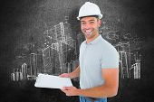 picture of clipboard  - Portrait of manual worker holding clipboard against hand drawn city plan - JPG