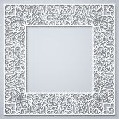 stock photo of swirly  - Swirly paper square decor with shadow on white - JPG