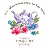 foto of teapot  - Invitation Vintage Card with Blueberries - JPG
