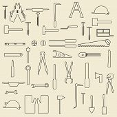 stock photo of wrangler  - Set of linear icons concerning construction tools - JPG