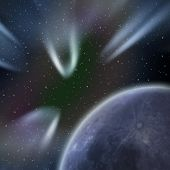 pic of comet  - Background with abstract planet and falling comets in a dark space - JPG