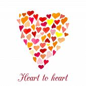 image of heart  - Vector heart made of little watercolor hearts - JPG