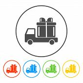 picture of truck-cabin  - truck with a gift vector icon EPS - JPG