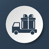 pic of truck-cabin  - truck with a gift vector icon EPS - JPG