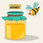 picture of bee cartoon  - Happy cartoon bee flying around the glass jar of honey for your design - JPG