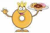 image of donut  - King Donut Cartoon Character Serving Donuts - JPG