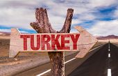 stock photo of mesopotamia  - Turkey wooden sign with road background - JPG