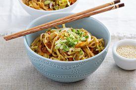 stock photo of stir fry  - Stir fry with rice noodles - JPG