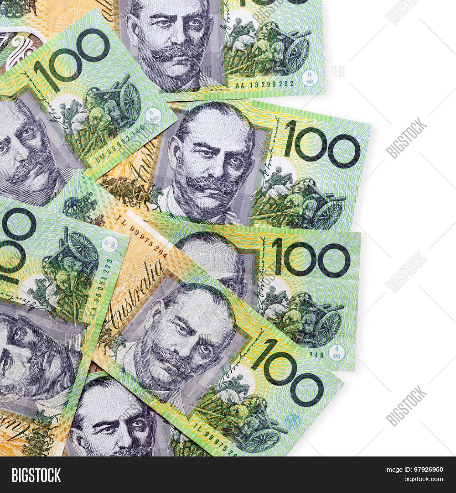 Australian one hundred dollar bills over white background ...
