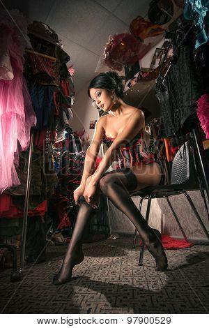 sexy cabaret female dancer in dressing room