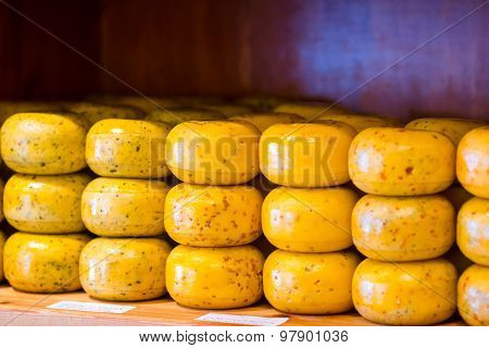 Stack of cheese in a shop at Amsterdam, Netherlands