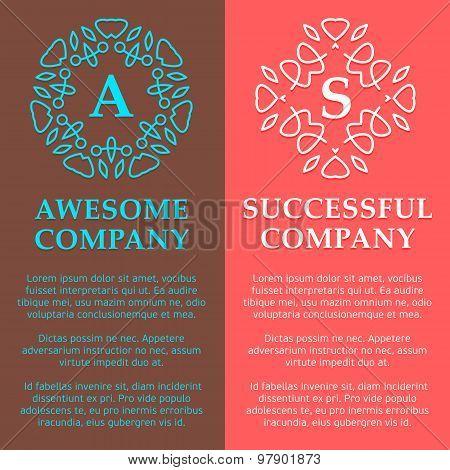 Multicolored Monogram Logos Set